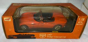 VINTAGE ANSON INDUSTRIES 1/18 DIECAST 1997 RED DODGE CONCEPT CAR NIB