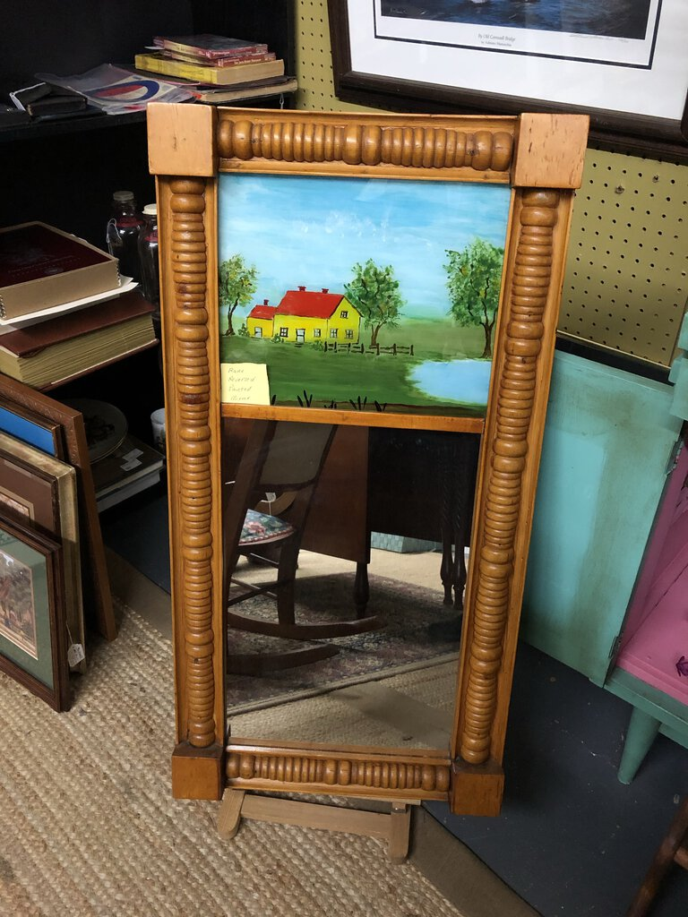 Rare Reverse Painting with Mirror.  Solid Maple Frame.