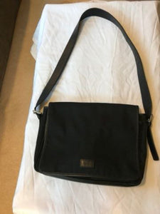 "Vintage Black Leather and Nylon Coach Purse 15"" x 11"""