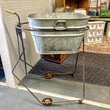 Load image into Gallery viewer, Antique Adjustable Metal Cart on Wheels with Tub