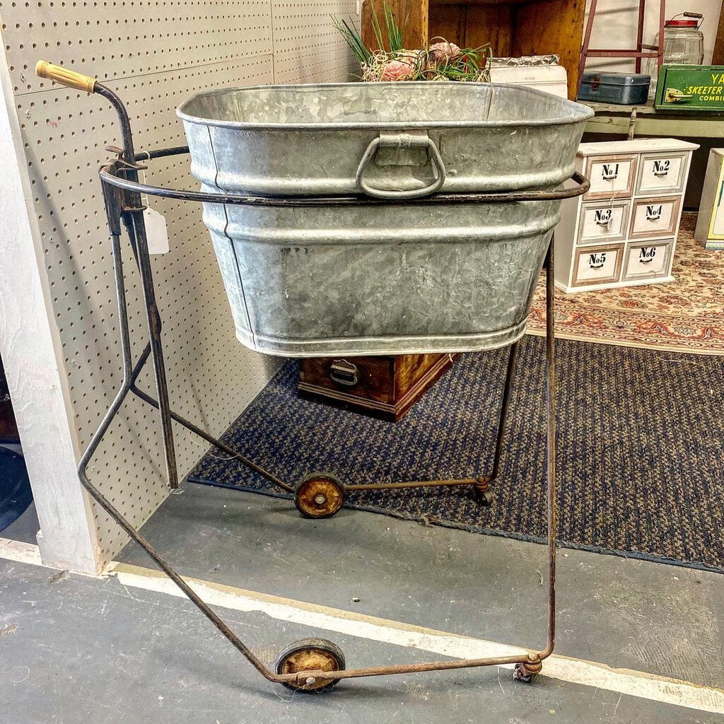 Antique Adjustable Metal Cart on Wheels with Tub