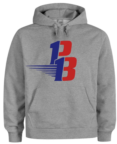 Gray Hoodie (Navy Blue/Red)