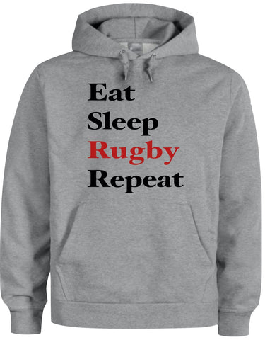 Gray Hoodie (Eat Sleep Rugby Repeat)