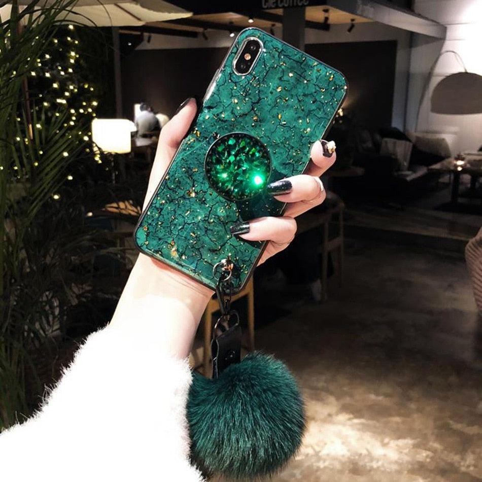 6d27c0c472 For iPhone 7 6 8 Plus Case Luxury Gold Foil Marble Cover For iPhone X XS  Max XR Glitter Diamond Plush Ball Lanyard Hard Cases