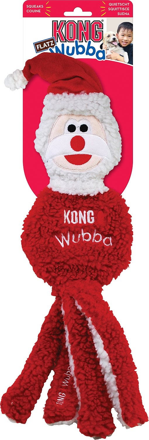 KONG Holiday Wubba Flatz Santa Dog Toy
