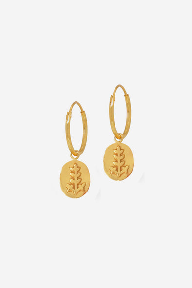 Leaf Coin Earrings Goldplated