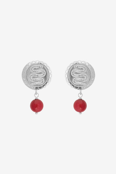 Coral Serpent Earring Silver - Anna + Nina - 925 Sterling silver serpent earring with red beads