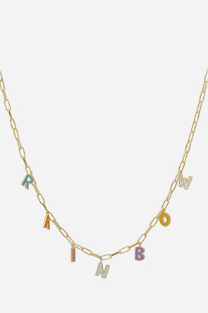 Rainbow Letter Necklace - Anna + Nina - letter pendants gold