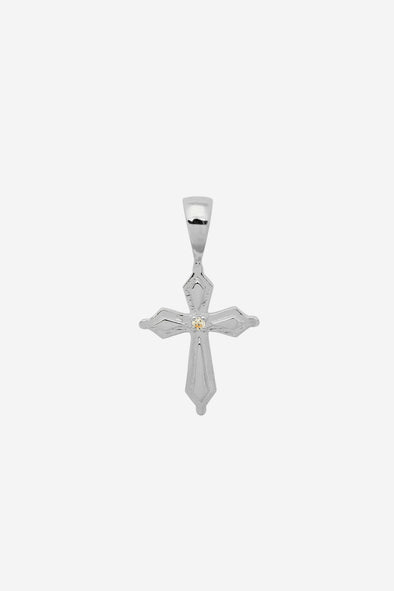 Madonna Cross Necklace Charm Silver - Anna + Nina - 925 sterling silver cross charm with a canary Zirconia