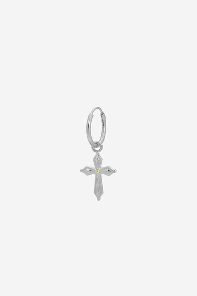 Single Madonna Cross earring Silver