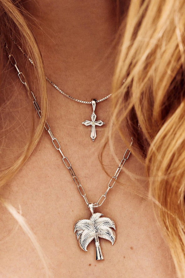Madonna Cross Necklace Charm Silver
