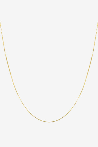 Box Necklace - Flawed - 14K Gold Plated necklace Chain 45 to 50 cm