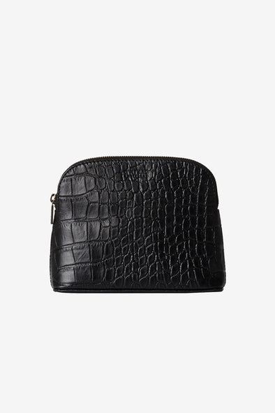 Cosmetic Bag Black Croco Classic Leather - O My Bag