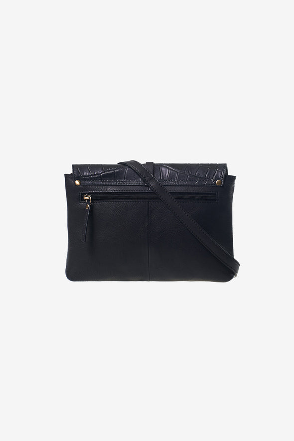 Ella Midi Bag Black/Croco Soft Grain Leather - O My Bag - Magnetic flap with leather strap