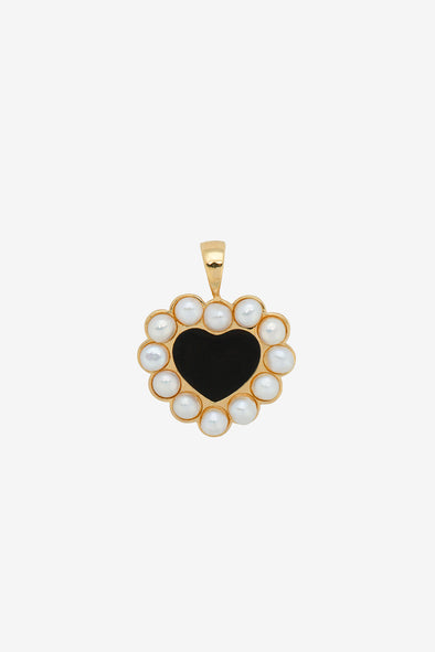Forbidden Love Necklace Charm Silver Goldplated Anna + Nina - Heart shaped charm black heart surrounded with pearls