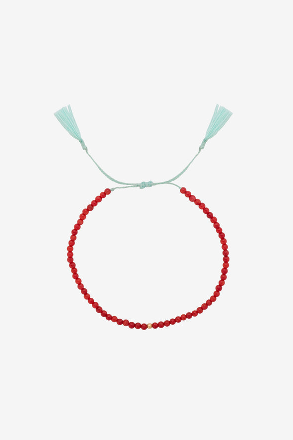 Georgia Thread Bracelet Coral Silver Goldplated Anna + Nina - Light blue thread red beads