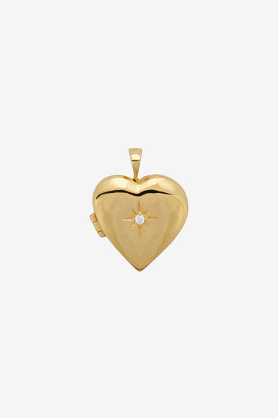 Heart Of Gold Necklace Charm Silver Goldplated - Anna + Nina - Heart shaped locket