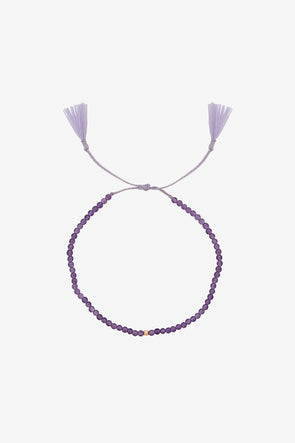 Josephine Thread Bracelet Amethyst Silver Goldplated Anna + Nina - Purple thread with purple beads