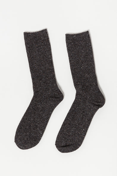 Snow Socks Charcoal - Le Bon Shoppe - Charcoal wool blend socks with speckles