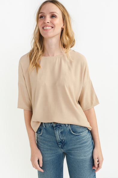 Mains Tee Humus - Samsoe & Samsoe - T-shirt relaxed fit and curved neckline