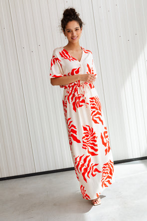 Alo Strap Dress Apple - Mus & Bombon - Long green strap dress with white flower design and slit