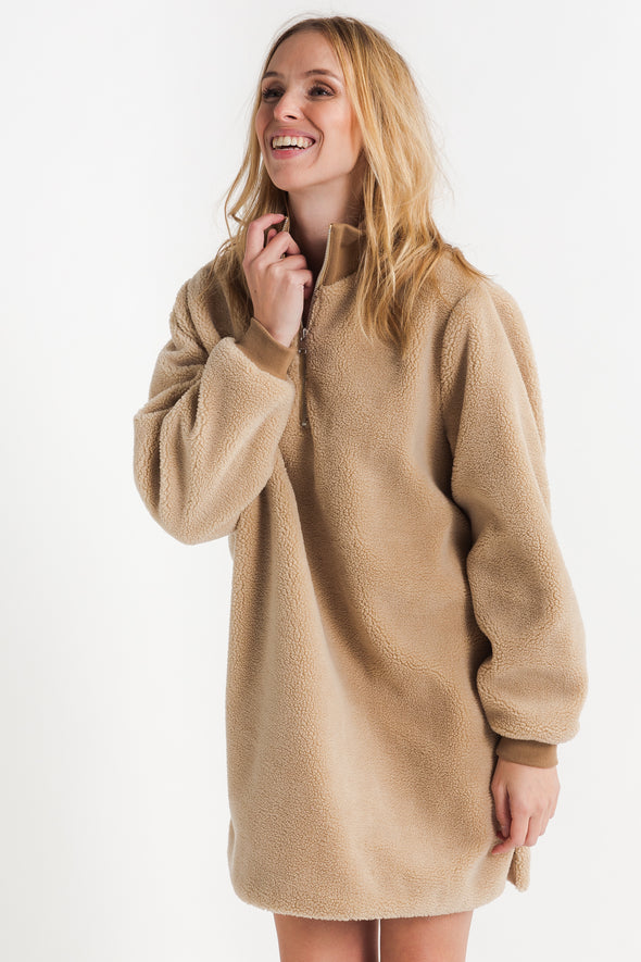 Larna Long Teddy Pullover - Selected Femme - Teddy dress with zipper collar and ribbed cuffs