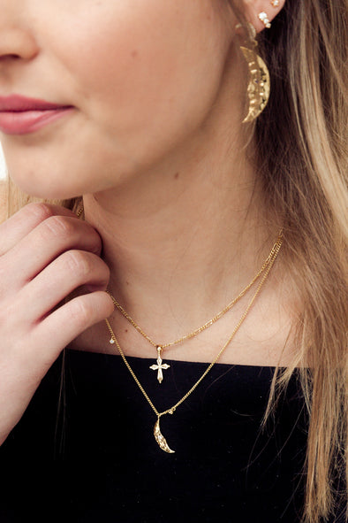 Madonna Cross Necklace Charm Silver Goldplated