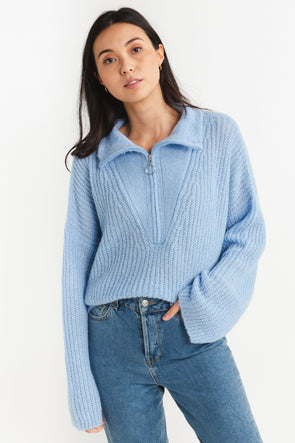 Florie Zipped Knit Halogen Blue - Untold Stories - Blue knit wide sleeves and a zipped high neck collar