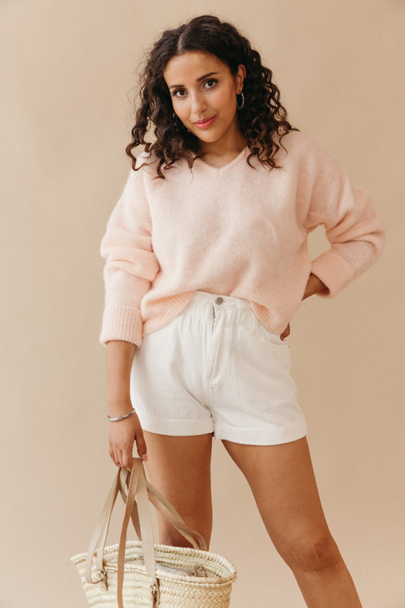 Augusta Dress Sand Melange - Untold Stories - Ribbed sweater dress midi length