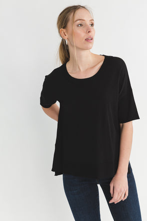 Wille Knit Black - Selected Femme - round neck basic black t shirt tee short sleeves casual fit
