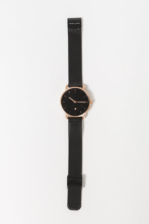 Denka Watch Rose Gold Black - Meller - black watch rose gold quartz