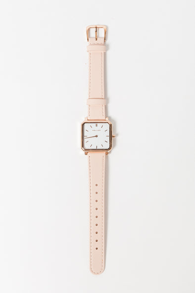 Madi Watch Pink - Meller - square clock gold hardware pink leather band