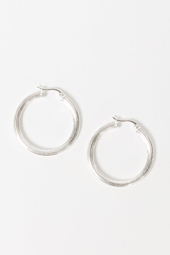 Pyramid Hoop Earrings Silver - Anna + Nina - handmade silver earrings medium hoops