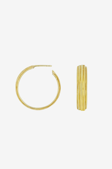 Sculpted Hoops - Flawed - Refined hoops made of separate layers 14K Gold Plated on Sterling Silver Measurements: 30 mm