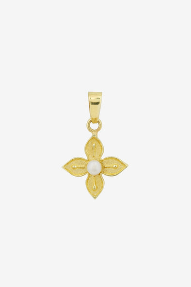 Blooming Pendant - Flawed - Single piece pendant goldplated flower with pearl