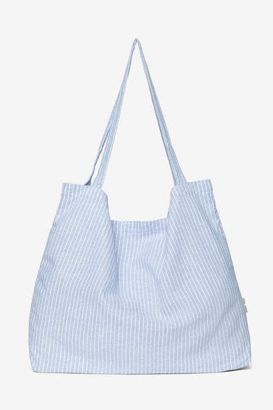 Blue Striped Linen Mom Bag