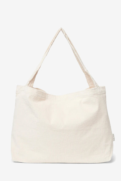 Old White Rib Mom Bag - Studio NOOS - White ribbed cotton mom bag