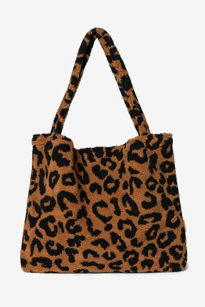 Teddy Leopard Brown Mom Bag - Studio Noos - Brown Leopard teddy handmade mom bag