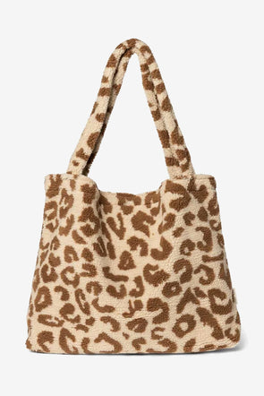 Teddy Leopard Ecru Mom Bag