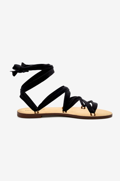 Capri Sandal - Rarámuri - Leather sandal with 6 loops and a black suede ribbon