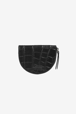 Laura's Coin Purse Black Croco Classic Leather