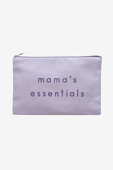 Canvas Zip Pouch 'Mama's Essentials' Lilac