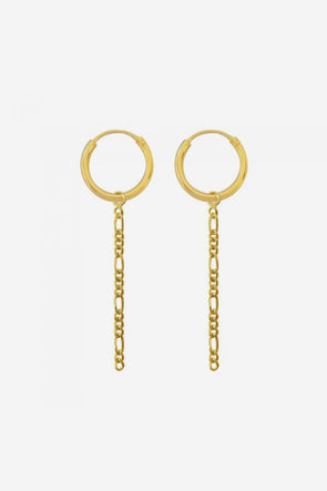 Earrings Figaro Chain 12mm Gold Plated
