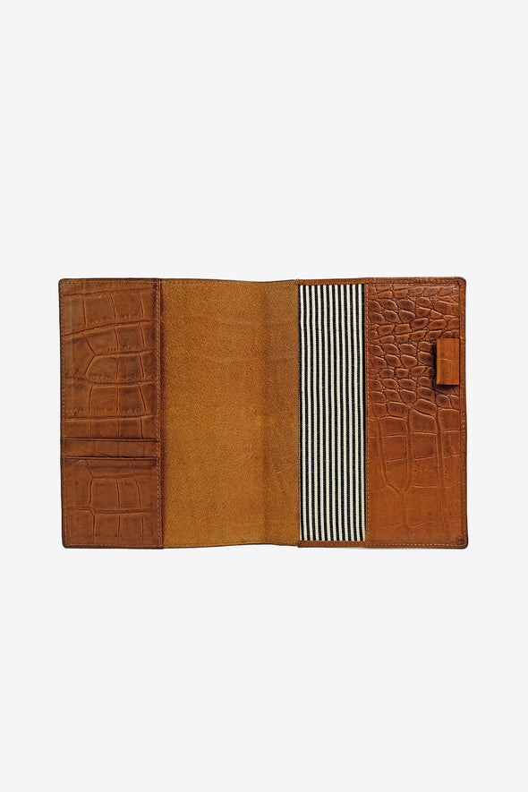 Notebook Cover Cognac Croco Classic Leather