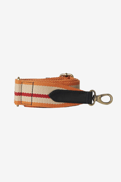 Webbing Strap Orange/Red/Black & Black Leather Details - O My Bag