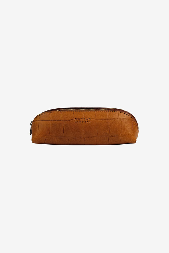 Pencil Case Small Cognac Croco Classic Leather