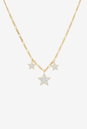 Hallelujah Necklace Silver Goldplated - Anna + Nina - 3 stars filled with Zirconia stones