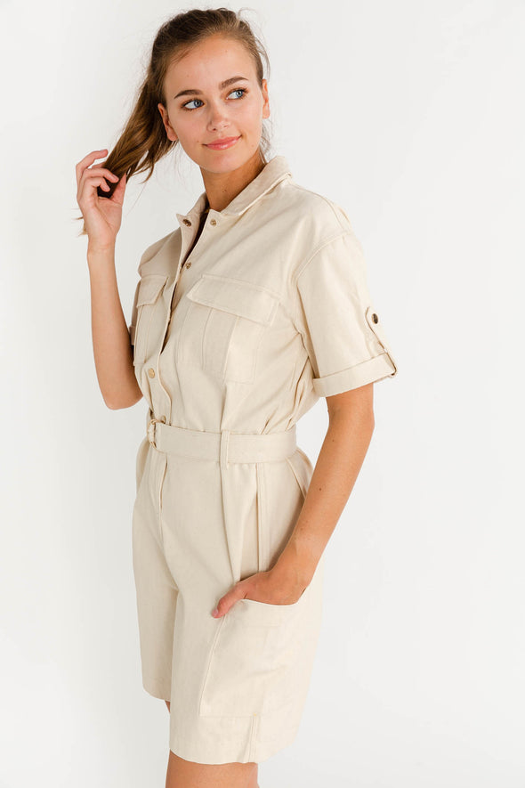 Sillu Jumpsuit - Minimum - playsuit boilersuit military cream beige nude belt