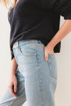 Frida Mom Jeans Aruba Blue - Selected Femme - mom fit retro denim jeans high waist tapered leg