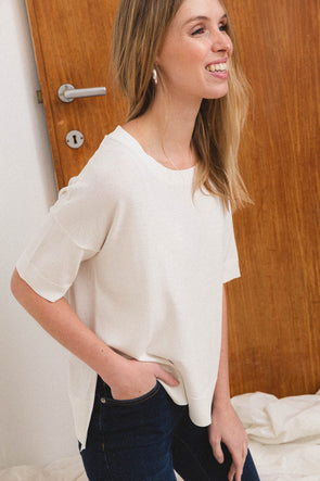 Wille Knit Snow White - Selected Femme - round neck basic white t shirt tee short sleeves casual fit